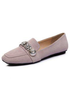 Slip On Square Toe Flat Shoes - Pink 39