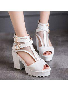 Mesh Peep Toe Sandals - White 38
