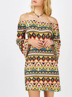 Geometrical Print Off The Shoulder Mini Aztec Print Dress - Xl