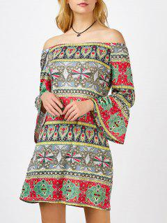 Printed Mini Shift Off The Shoulder Dress - Xl