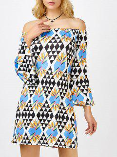 Argyle Off The Shoulder Long Sleeve Mini Dress - S