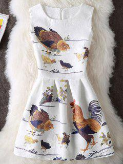 Chook Imprimir Sin Mangas Mini Vestido - Blanco S