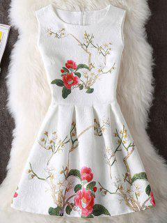 Flower Print Sleeveless Short Skater Dress - White Xl