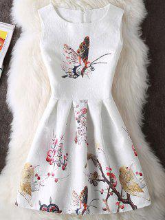 Floral Et Papillon Imprimer Mini Robe Sans Manches - Blanc M