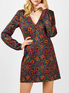 Mini Plunging Neck Long Sleeve Floral Dress - M