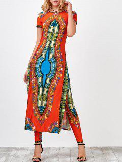 High Slit Africa Print Robe Dress With Pants - Jacinth S