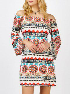 Off The Shoulder Printed Bell Sleeve Shift Aztec Print Dress - Xl