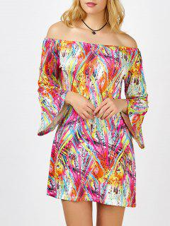 Colorful Printed Off The Shoulder Mini Dress - M