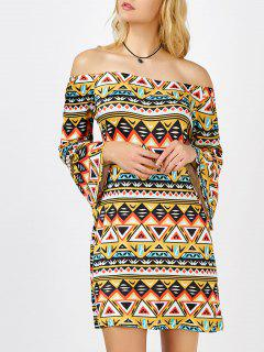 Geometrical Print Off The Shoulder Mini Aztec Print Dress - S