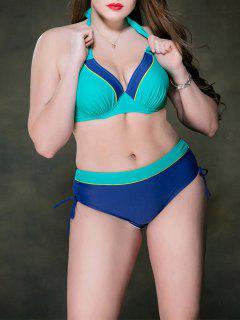 Plus Size Colorblock Halter Bikini Set - Turquoise 5xl