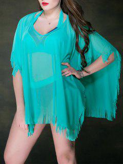 Plus Size Mesh Swimsuit Sheer Fringe Tunic Beach Cover Up - Turquoise