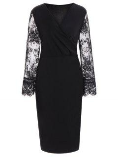 Lace Insert Long Sleeve Plus Size Surplice Dress - Black 6xl