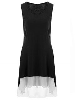 High Low Plus Size Tank Dress - Black 3xl