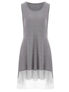 High Low Plus Size Tank Dress - Gray 3xl