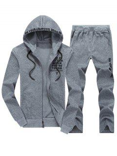 Zip Up Graphic Hoodie Twinset - Light Gray 3xl