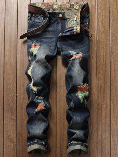 Zipper Fly Distressed Cuffed Jeans - Deep Blue 32