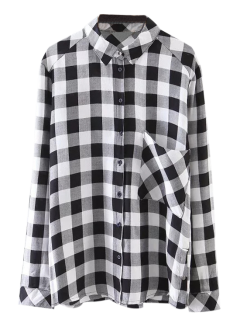 Pocket Checked Shirt - Black M
