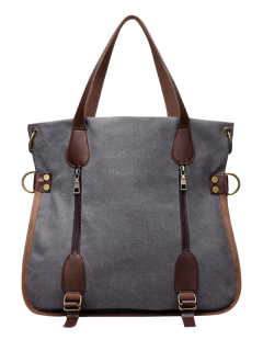 Casual Zip Details Canvas Tote Bag - Gray