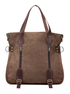 Casual Zip Details Canvas Tote Bag - Coffee