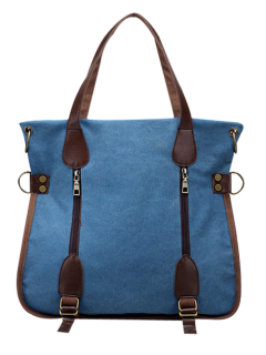 Casual Zip Details Canvas Tote Bag - Lake Blue