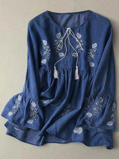 Bell Sleeve Embroidered Babydoll Top - Deep Blue M