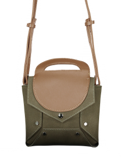 Bloque De Color Mini Cross Body Bag - Verde Oliva