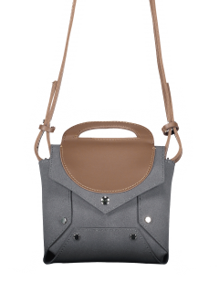 Bloque De Color Mini Cross Body Bag - Gris