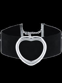 PU De Cuero De Terciopelo Collar Gargantilla Del Corazón - Plata