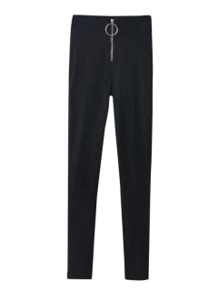 Skinny High Waist Pants - Black L