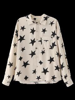 Pentagrama Imprimir Bolsillo De La Camisa - Blanco S
