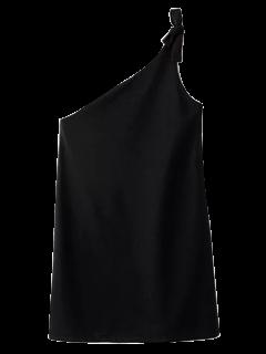 Atada De Un Hombro Mini Vestido - Negro S