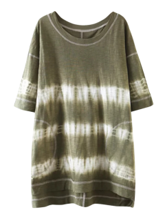 High Low Tie Dye Stripe T-Shirt Dress - Olive Green S