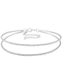 Twins Circle Rhinestone Choker Necklace - Silver