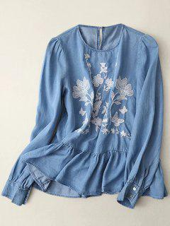 Round Neck Embroidered Blouse - Light Blue M
