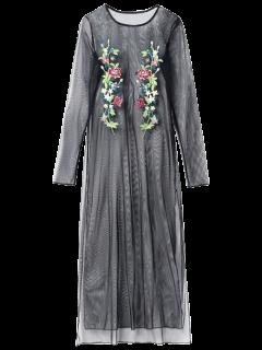 Embroidered See Thru Mesh Dress - Black M