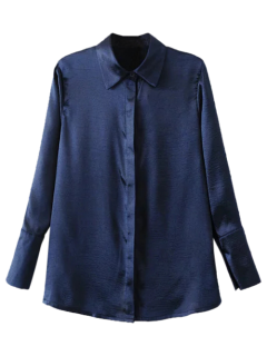 Embroidered Back Satin Shirt - Purplish Blue S