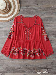 Robe Brodée à Motif Floral à Col Plongeante - Rouge M