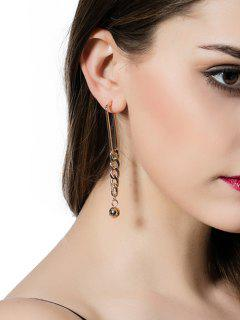 Alloy Bead Chain Drop Earrings - Golden