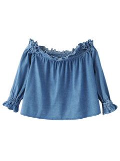 Ruffles Off Shoulder Denim Blouse - Blue M