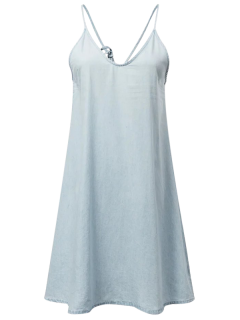 Slip Denim Dress - Light Blue L