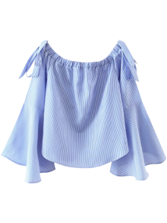 Bell Sleeve Off The Shoulder Top - Blue And White M
