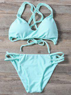 Braided Crisscross Strap Bathing Suit - Light Green L