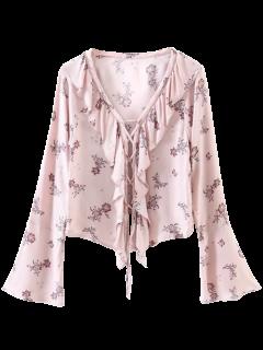 Impreso Atan Para Arriba La Blusa Con Volantes - Rosado M