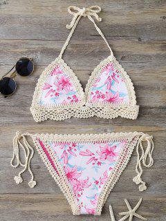 Crochet Panel Printed String Bikini - Pink