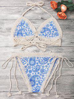 Panel De Ganchillo Cadena Bikini Impreso - Azul