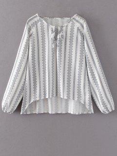 Blouse Imprimée Haut-bas Surdimensionnée - Blanc S