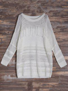 Cold Shoulder Hollow Out Tassel Jumper - Off-white