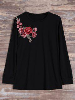 Floral Embroidered Patch Long Sleeve Tee - Black M