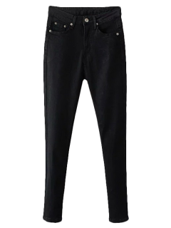 Stretchy Zip Fly Jeans - Black S