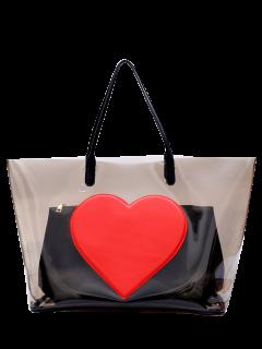 Heart Pattern Transparent Shoulder Bag - Transparent Gray